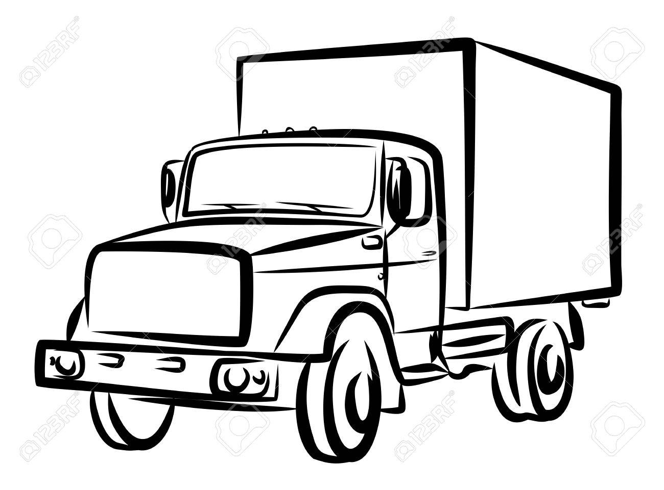1300x961 Sketch Of Heavy Truck. Royalty Free Cliparts, Vectors, And Stock