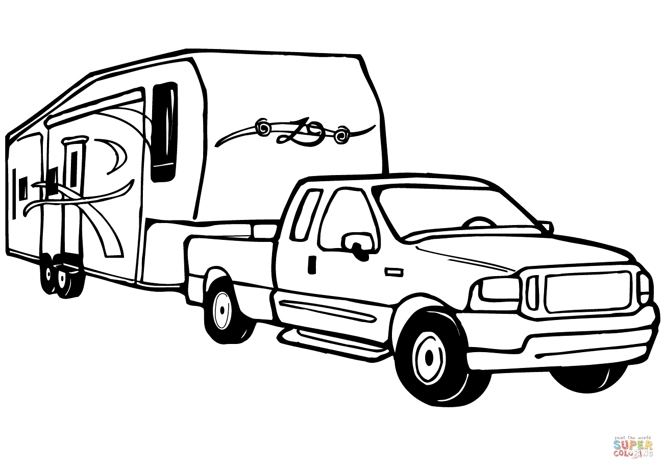1301x919 Truck And Rv Camper Trailer Coloring Page Free Printable