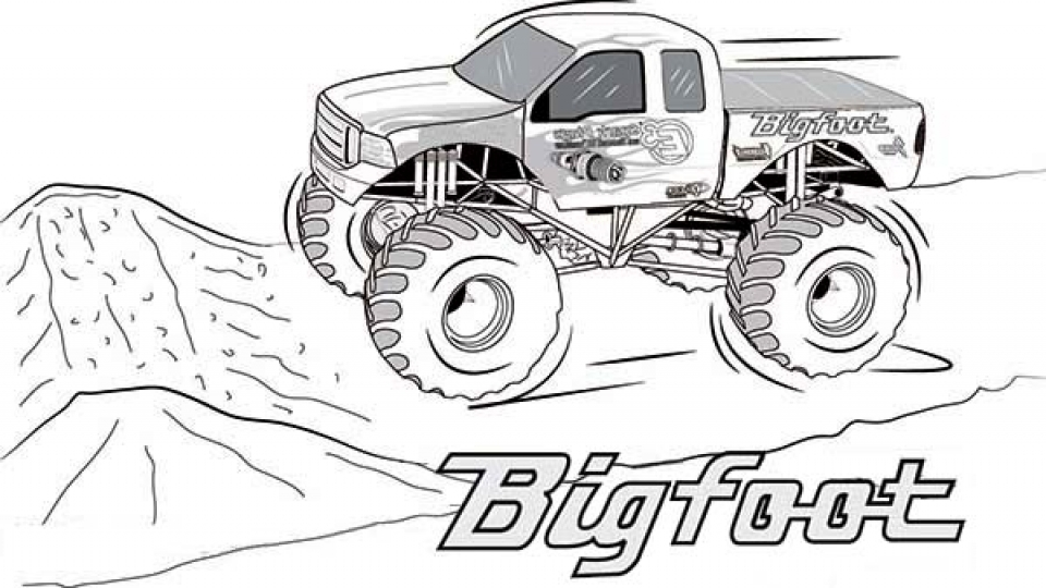 960x540 Daring Monster Truck Coloring Pages Drawing With Kids
