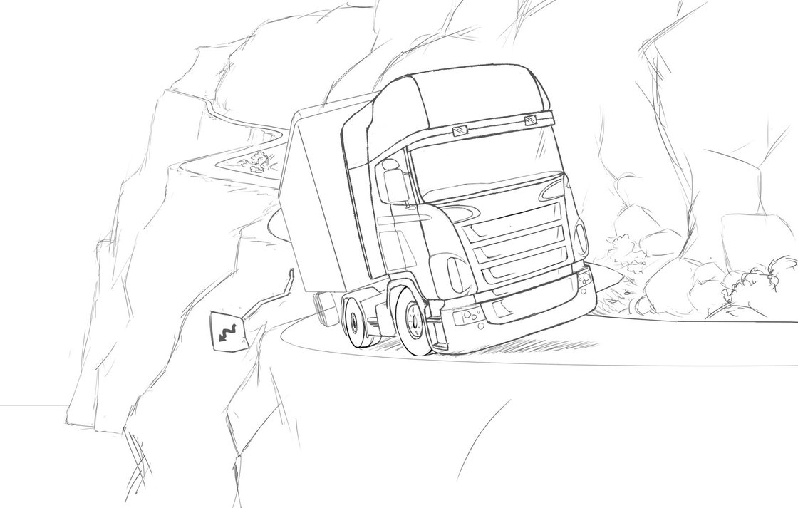 1120x713 Euro Truck Sketch By Jessemg
