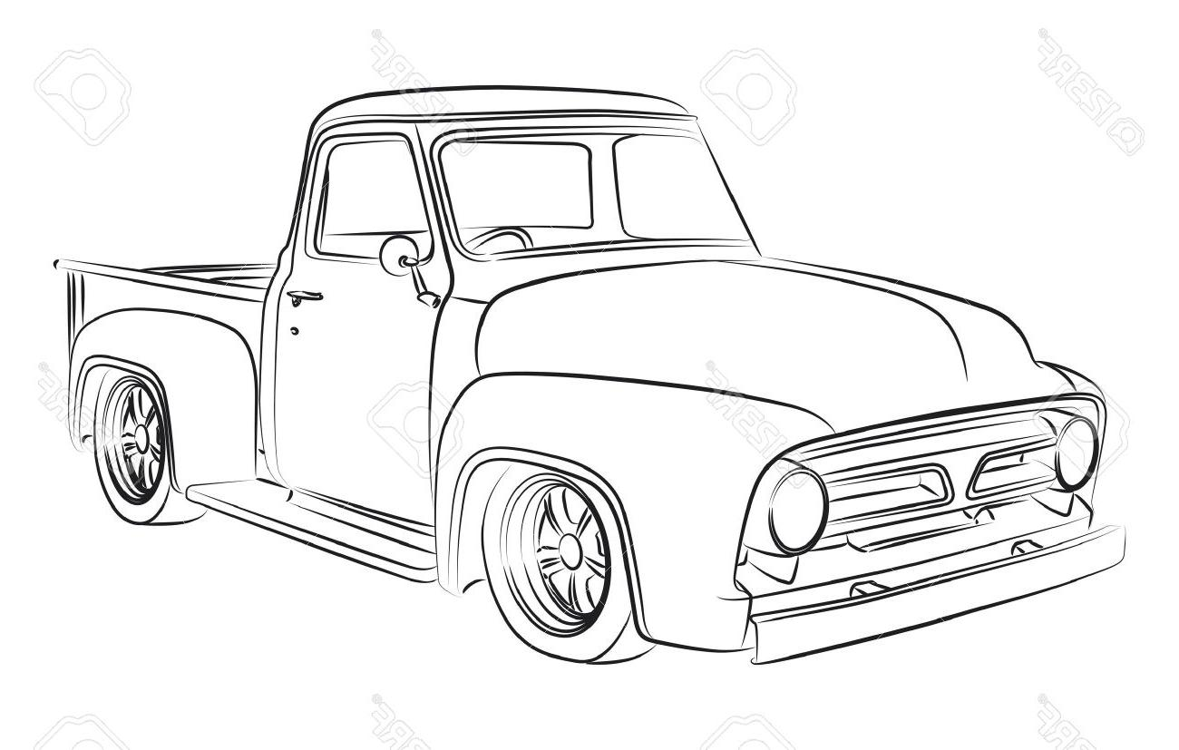 1300x827 Best Free Old Pickup Digital Drawing Stock Vector Car Truck