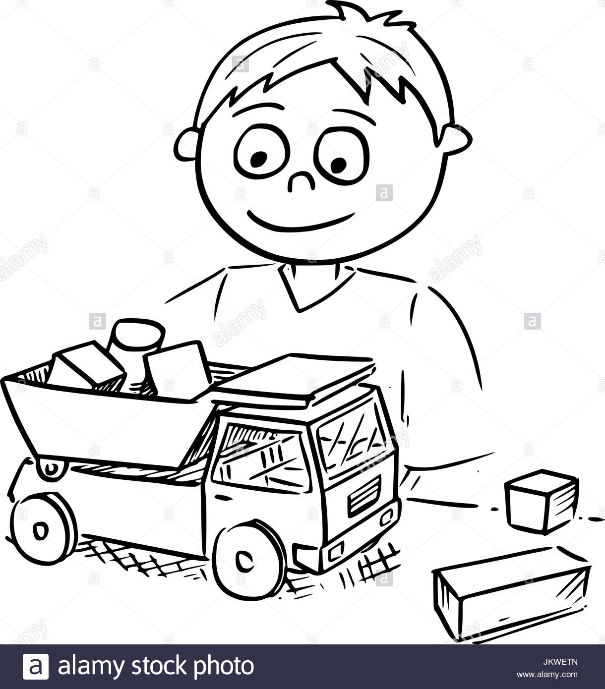 1220x1390 Hand Drawing Vector Cartoon Of A Boy Playing With Toy Truck Car