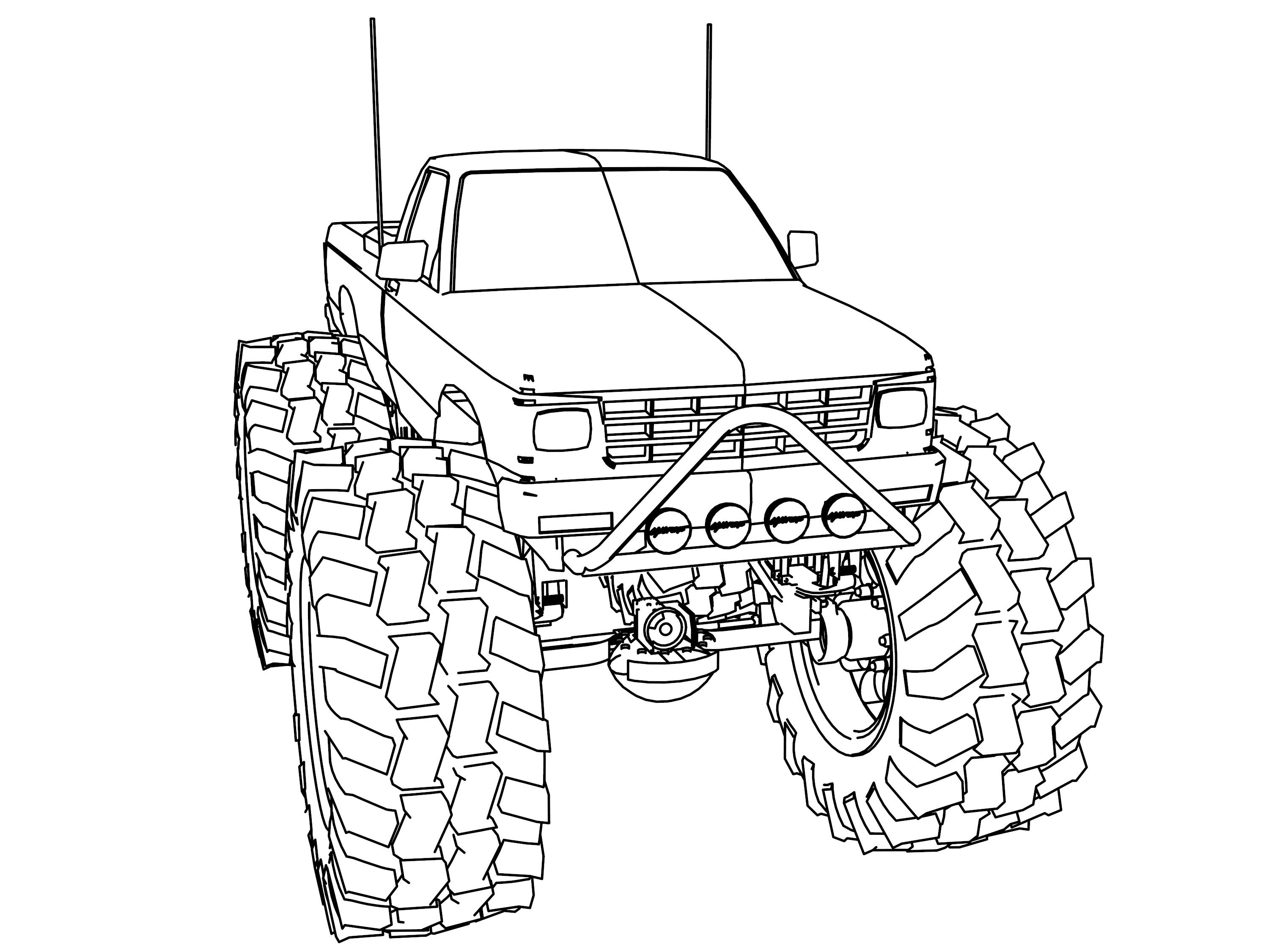 3000x2250 Coloring Pages Draw A Monster Truck Free Draw To Color