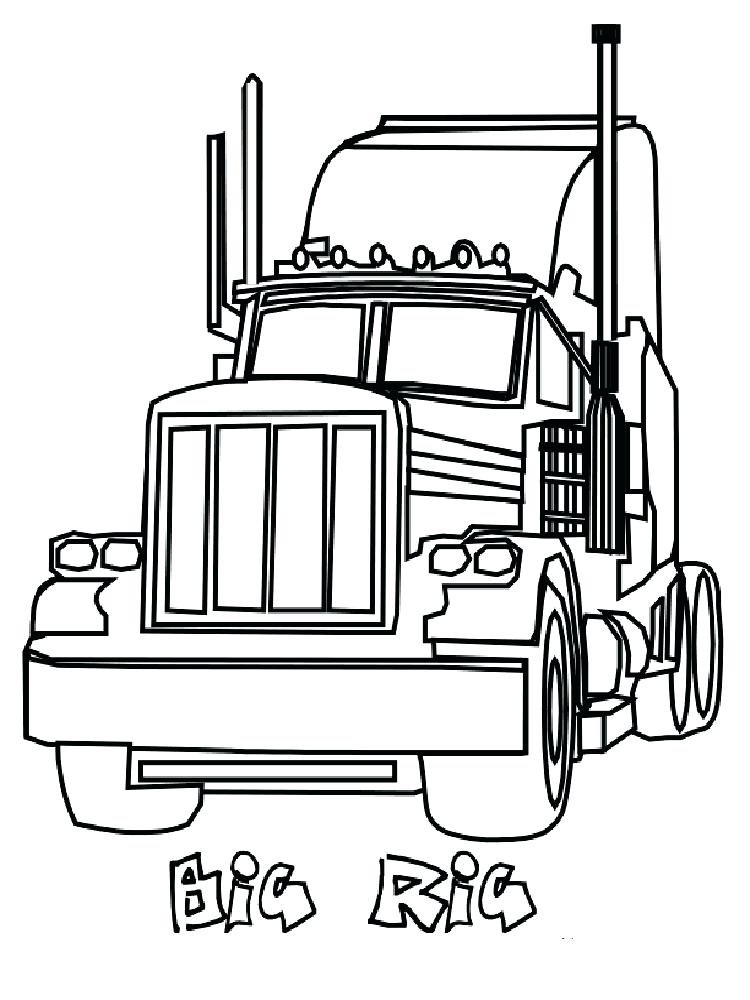 750x1000 Coloring Pages Of Semi Trucks Drawing Semi Truck Coloring Page