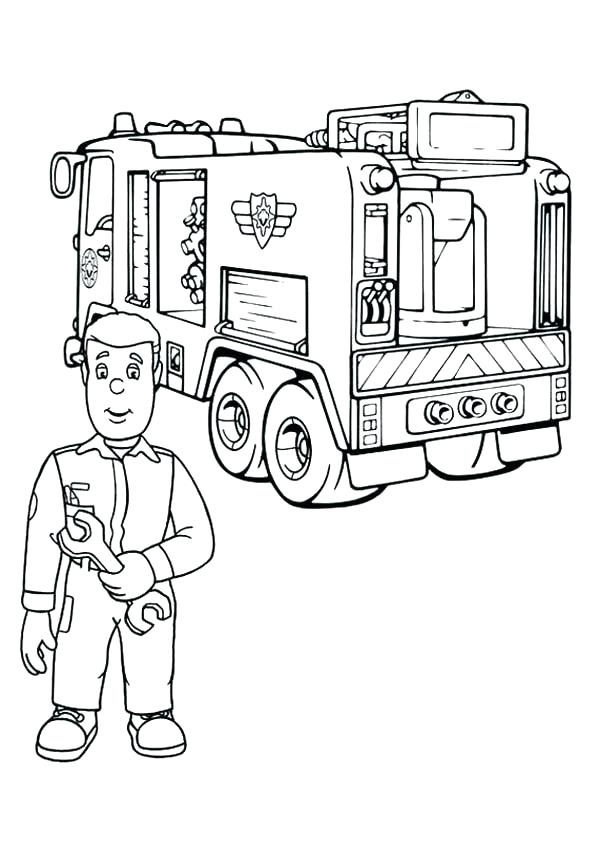 600x841 Coloring Pages Fire Truck Coloring Page Fire Truck Fireman