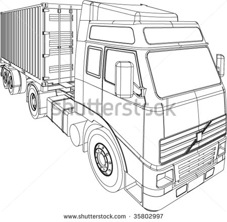 450x440 Container Truck And Trailer Line Drawing Isolated On White