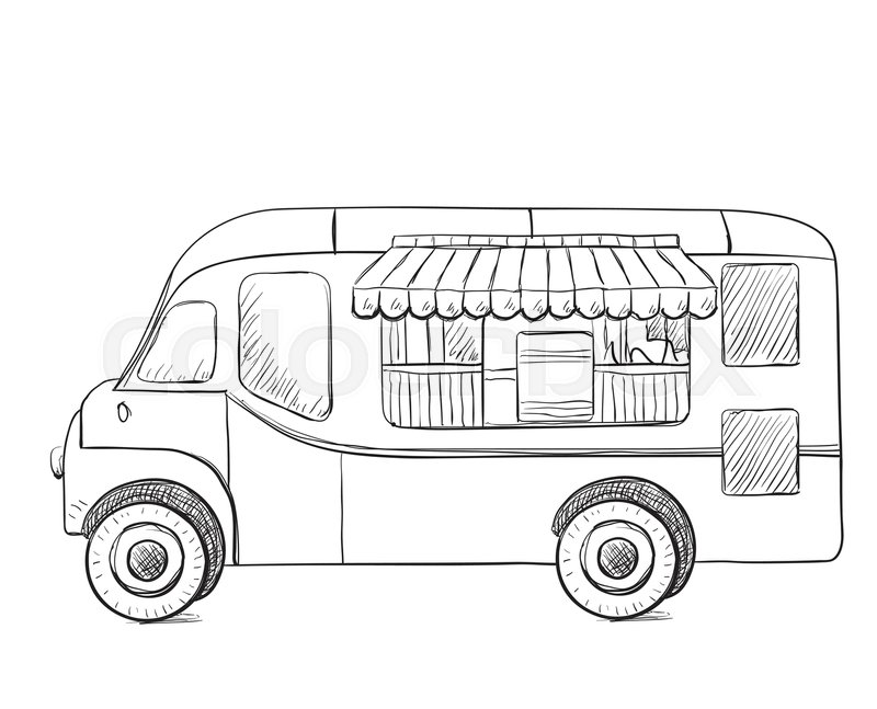 800x647 Hand Drawn Food Truck. Delivery Service Sketch Stock Vector