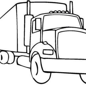 300x300 An 18 Wheeler Semi Truck Illustration Coloring Page An 18 Wheeler