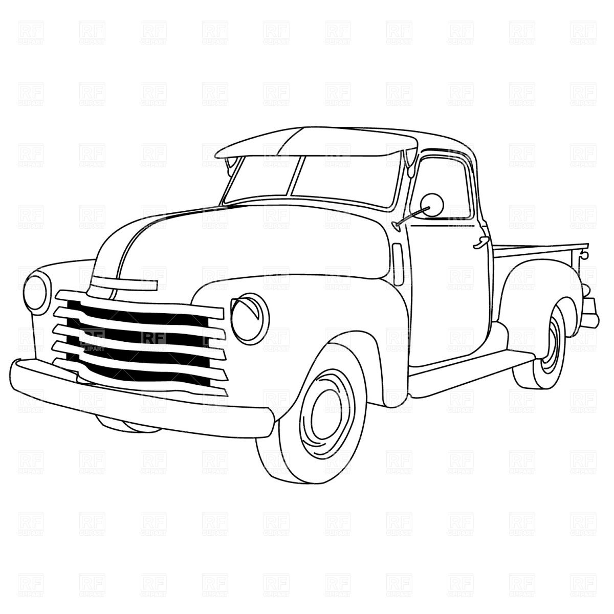 1200x1200 Old American Pick Up Truck Download Royalty Free Vector Clipart