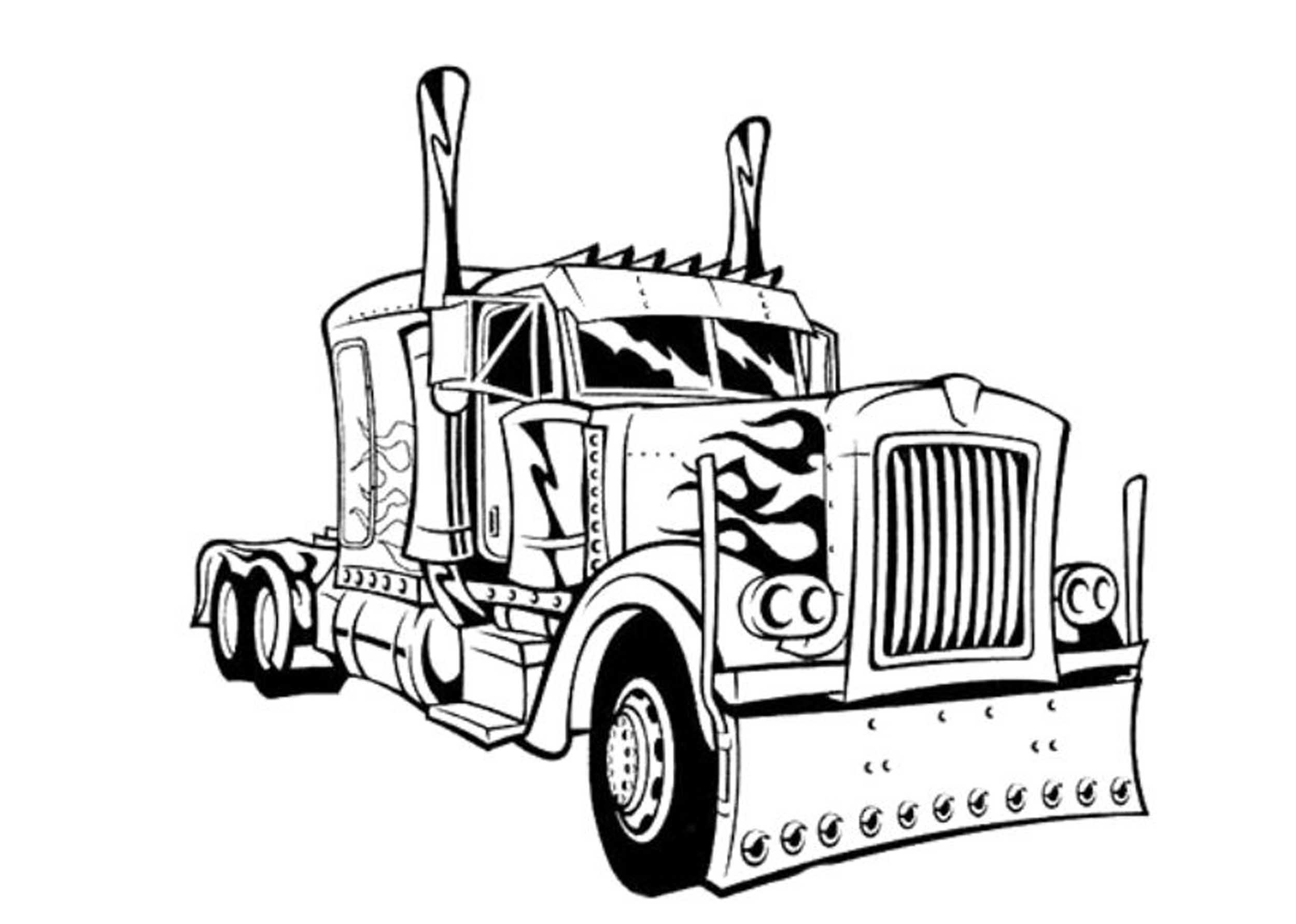 2500x1783 Transformers Optimus Prime Truck Coloring Pages
