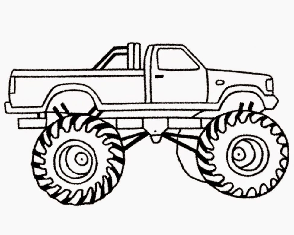 974x779 Coloring Pages Monster Truck Drawings Drawn Vehicle 8 Coloring