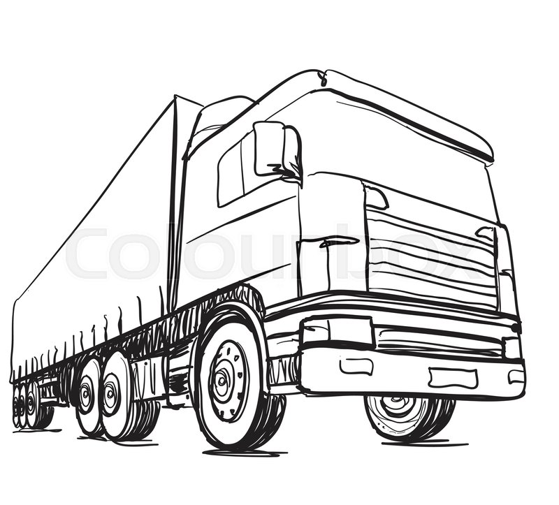 800x723 Sketch Logistics And Delivery Poster. Hand Drawn Truck