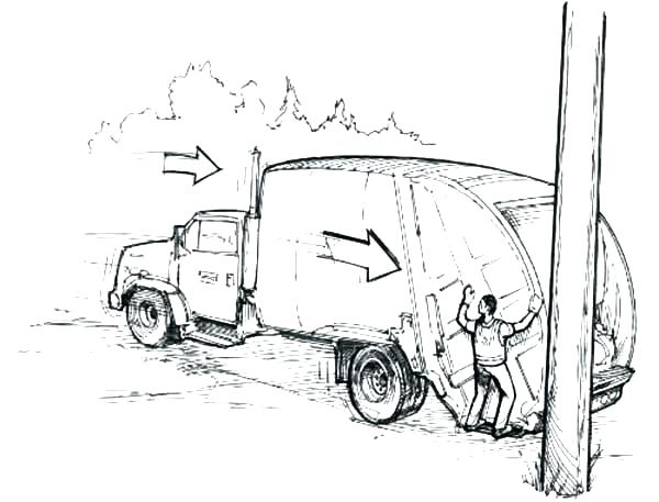 600x457 Trash Truck Coloring Pages Garbage Truck In Semi Truck Coloring