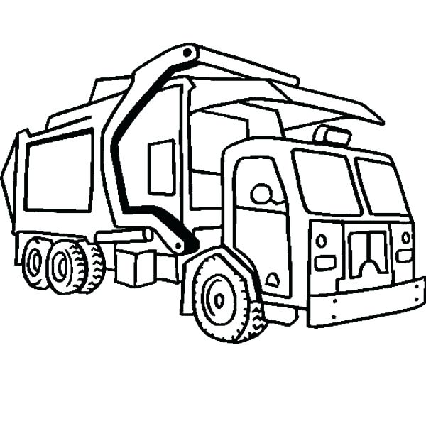 600x600 Epic Coloring Pages Garbage Truck Kids In Semi Page Trucks