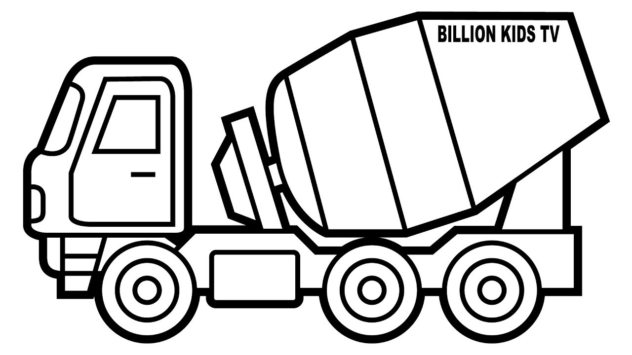 1280x720 Mixer Truck Coloring Pages, Colors For Kids With Construction