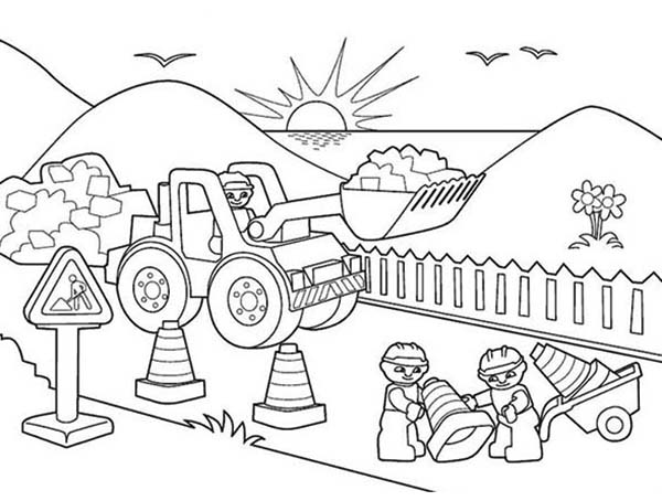 600x454 Workers Coloring Pages Trucks People Working Together Coloring