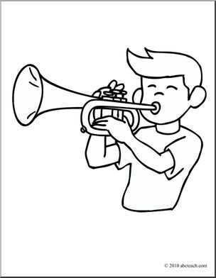 304x392 Clip Art Boy Playing Trumpet (Coloring Page) I