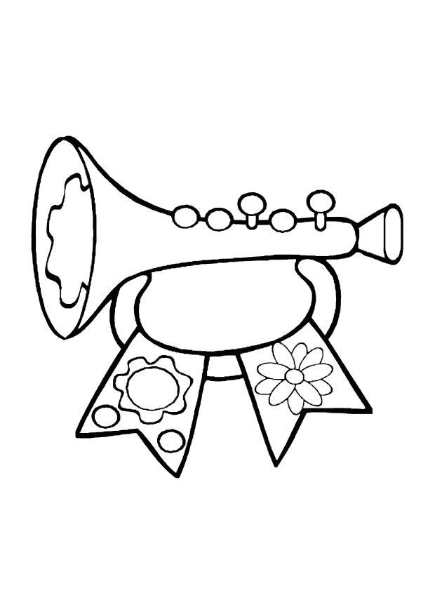 620x875 Coloring Page Toy Trumpet