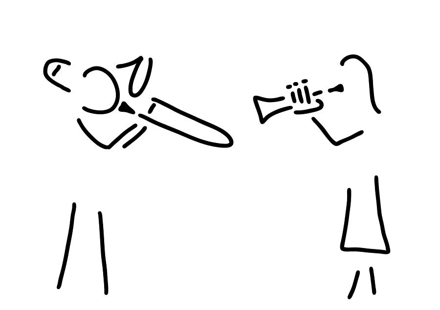 900x635 Posaunist Trumpet Player Brass Player Drawing By Lineamentum
