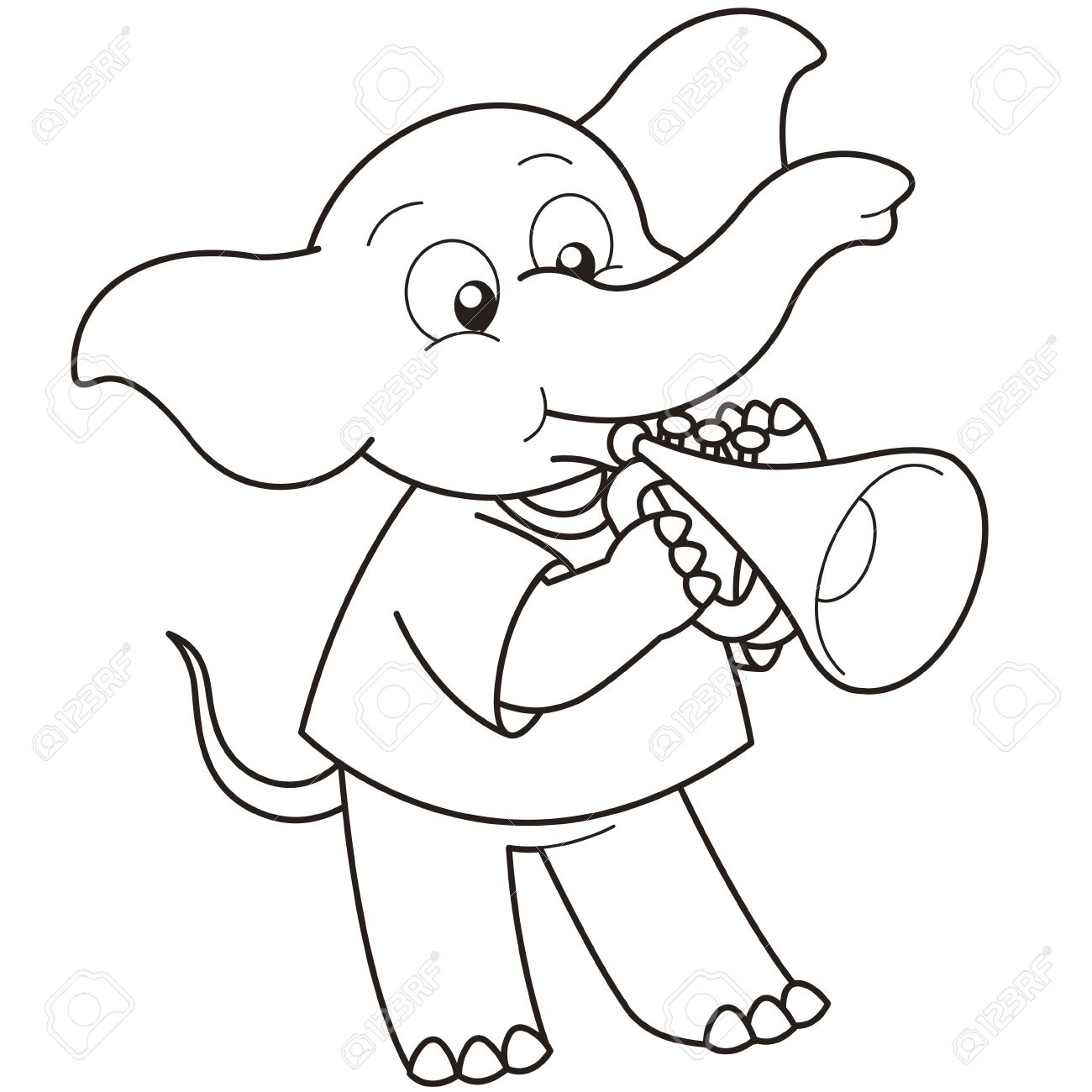 1300x1300 Cartoon Elephant Playing A Trumpet Black And White Royalty Free