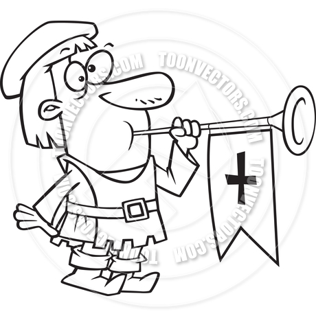 460x460 Cartoon Medieval Herald With Trumpet (Black And White Line Art) By