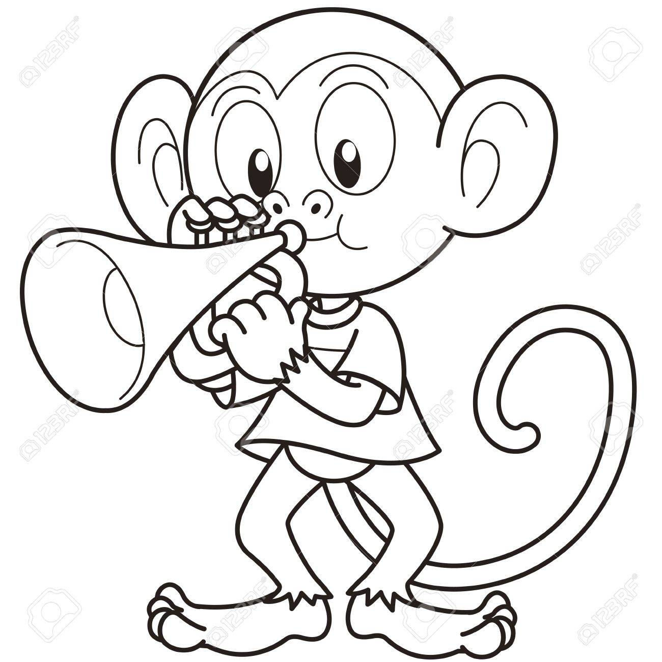 1300x1300 Cartoon Monkey Playing A Trumpet Black And White Royalty Free