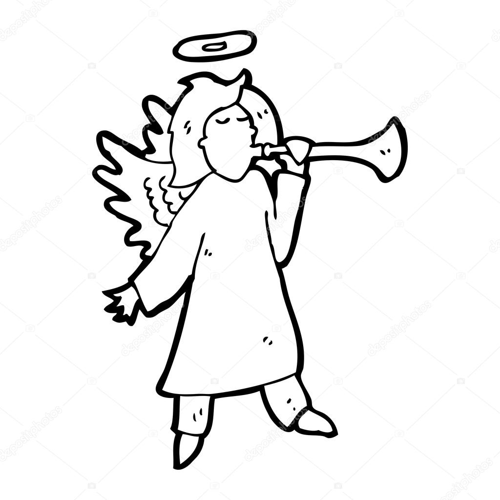 1024x1024 Cartoon Angel Playing Trumpet Stock Vector Lineartestpilot