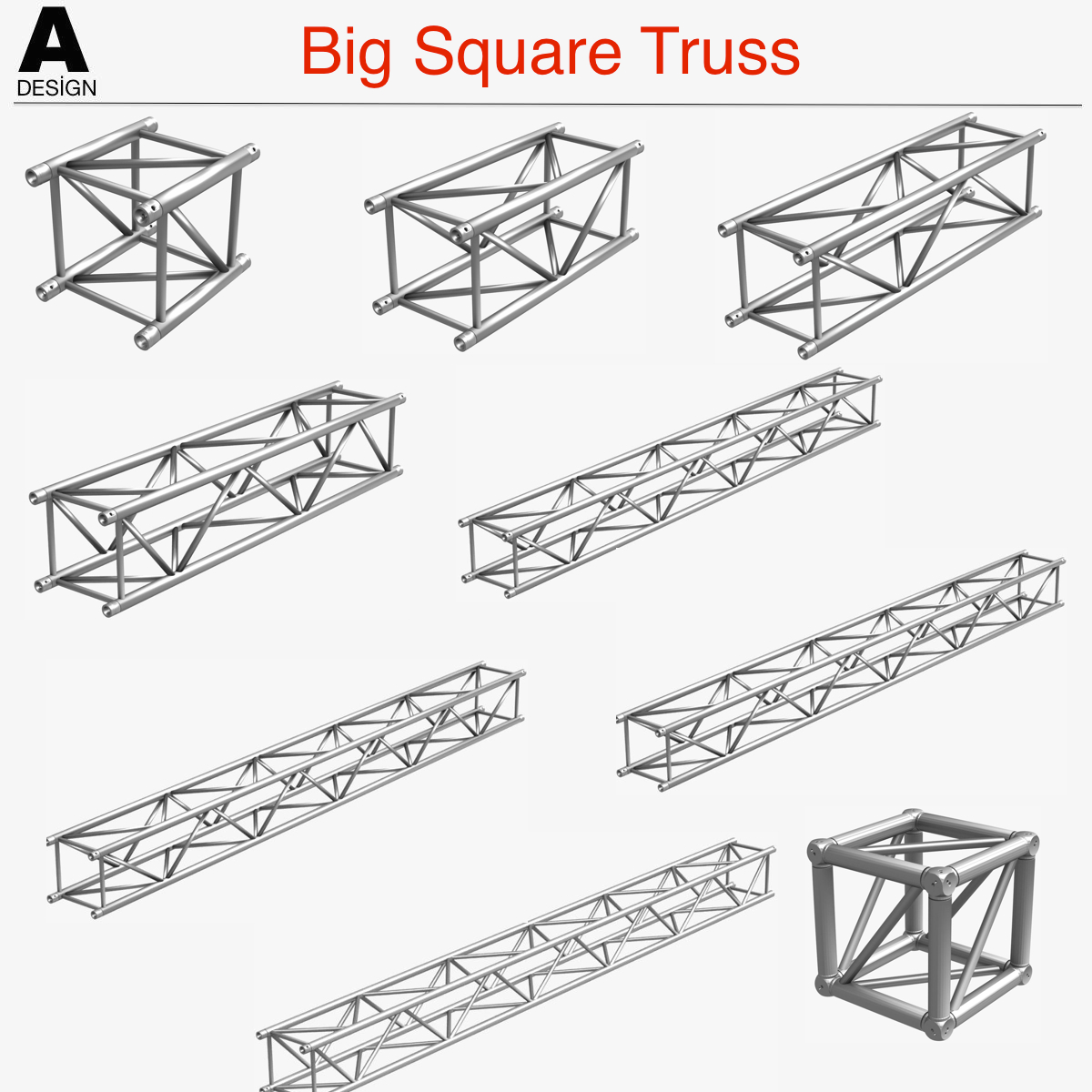 1200x1200 Big Square Truss (Collection 10 Modular Pieces) 3d Model Objects