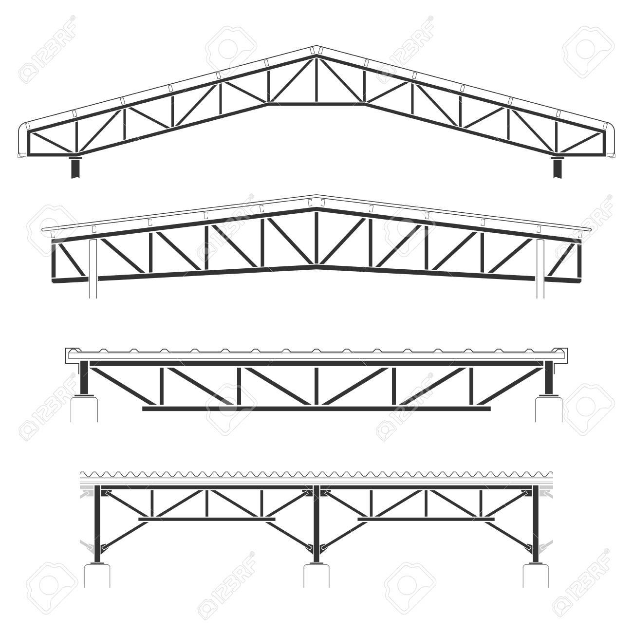 1300x1300 Roofing Building,steel Frame Cover, Roof Truss Set, Vector