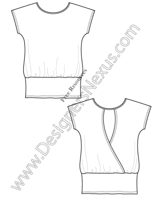 316x409 V14 Knit Tunic T Shirt Template Free Flat Drawing