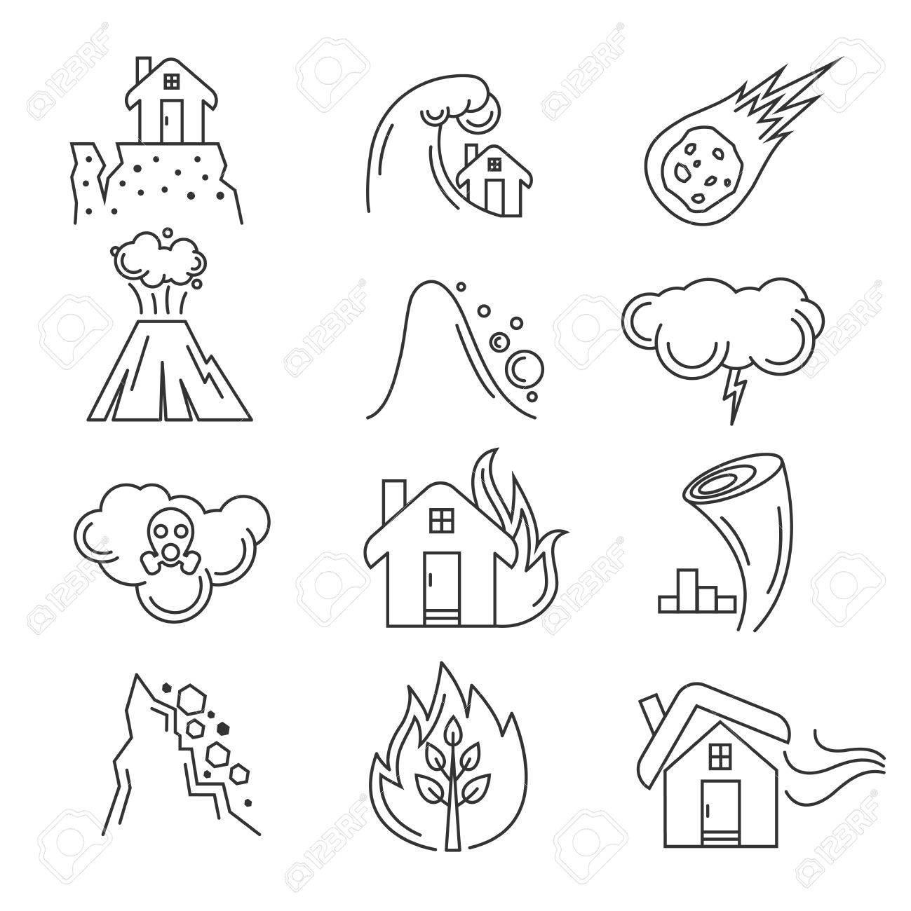 1299x1300 Natural Disaster Icons. Earthquake Tornado, Hurricane