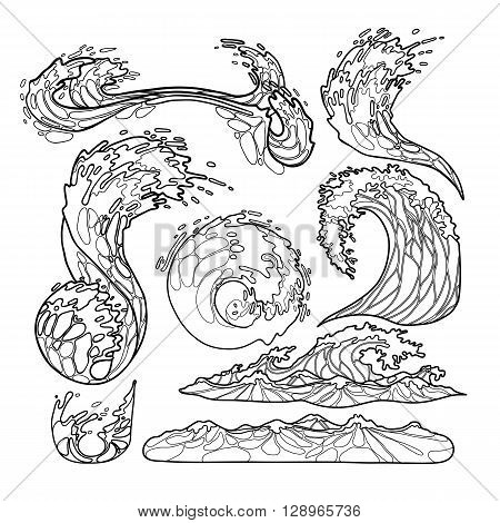 450x470 Ocean Storm Waves Collection Drawn Vector Amp Photo Bigstock