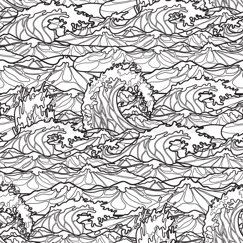 800x800 Ocean Storm Waves Seamless Pattern Drawn In Line Art Style