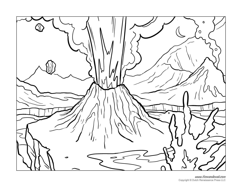 1500x1159 Realistic Volcano Coloring Page Dormant Volcano Coloring Page