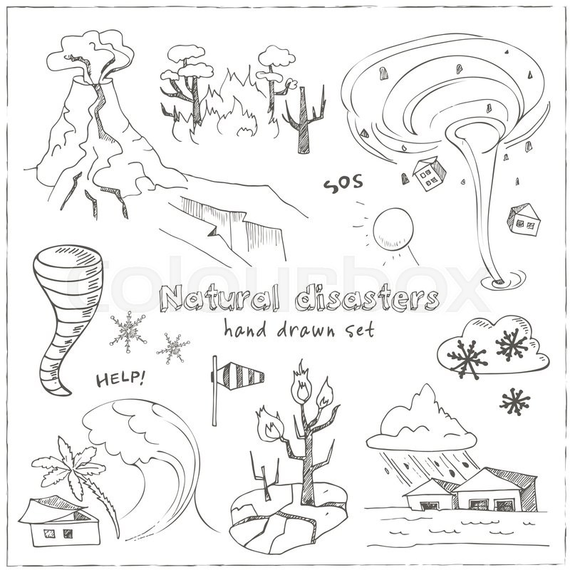 800x800 Set Of Doodle Sketch Natural Disasters Earthquake Tsunami Volcanic