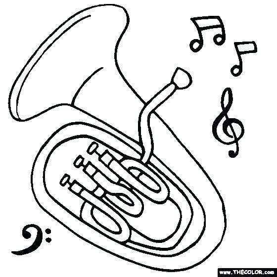 560x560 Instrument Coloring Pages Musical Instruments Tuba Is A Musical