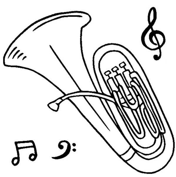 Tuba coloring pages ~ Tuba Drawing at GetDrawings.com   Free for personal use ...