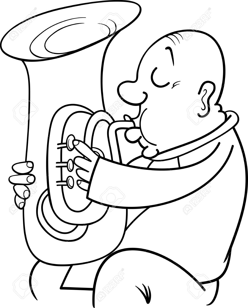 1047x1300 Black And White Cartoon Illustration Of Trumpeter Musician Playing