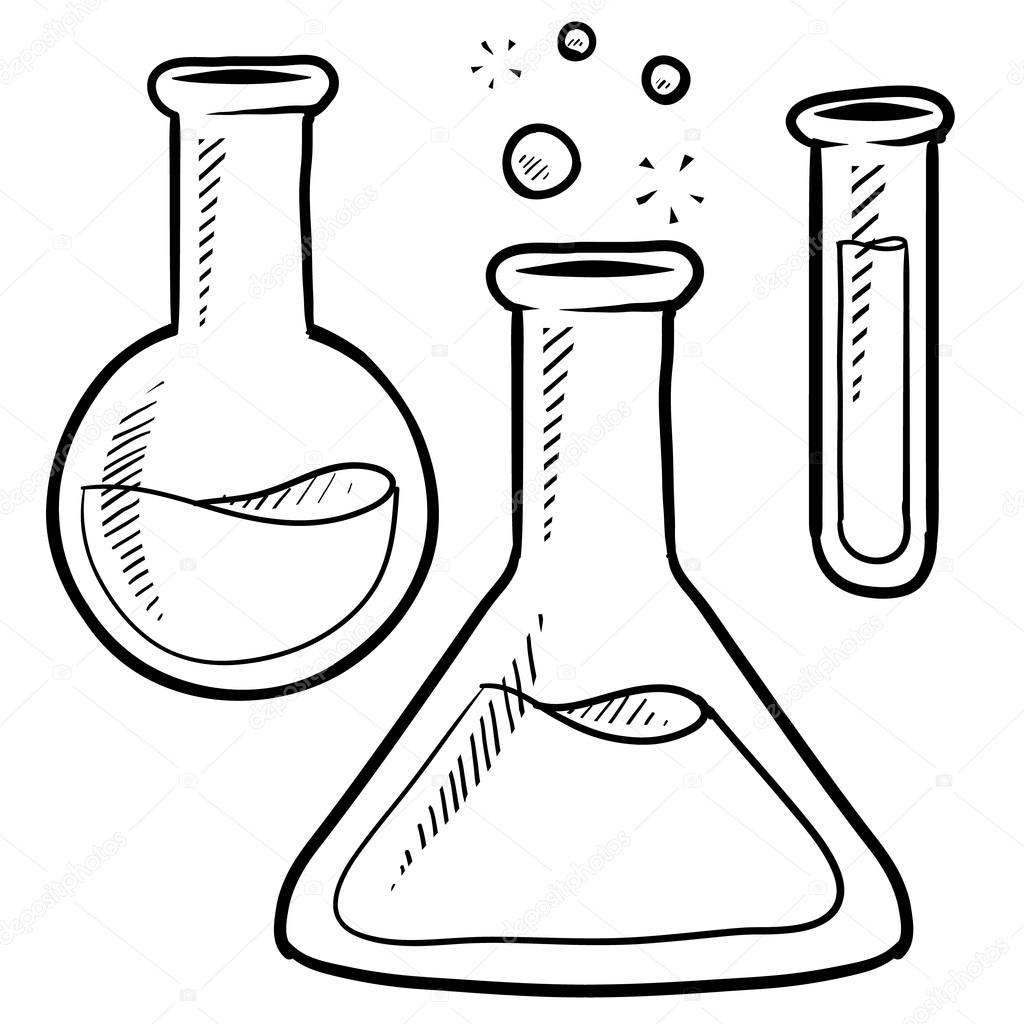 1024x1024 Science Lab Beakers And Test Tubes Sketch Stock Vector