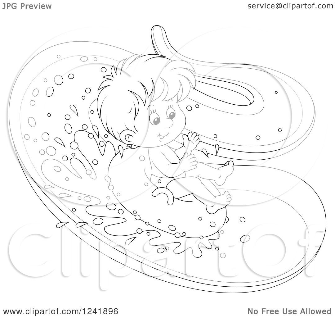 1080x1024 Clipart Of A Black And White Happy Boy Tubing Down A Waterslide