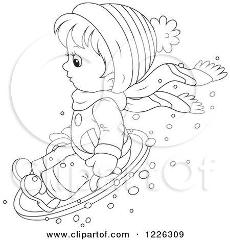 450x470 Clipart Of A Cartoon Little Blond Caucasian Boy Snow Tubing