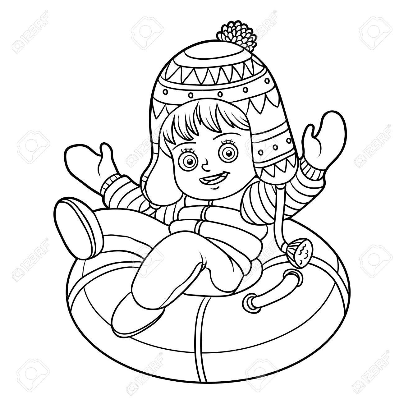 1300x1300 Coloring Book For Children, Happy Girl Riding On The Tubing