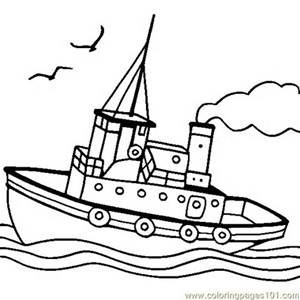 300x300 Free Printable Coloring Page Tugboat (Transport Gt Water Transport