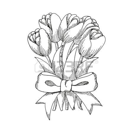 450x450 Hand Drawn Tulip, Cute Doodling Flower Sketch, Vector Illustration