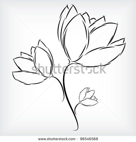 450x470 Collection Of Outlined Tulip Flower Plant Sample