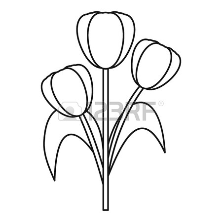450x450 Three Tulips Icon, Outline Style Royalty Free Cliparts, Vectors