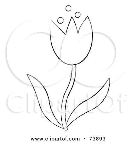 450x470 Black And White Outline Of A Spring Tulip Flower Posters, Art