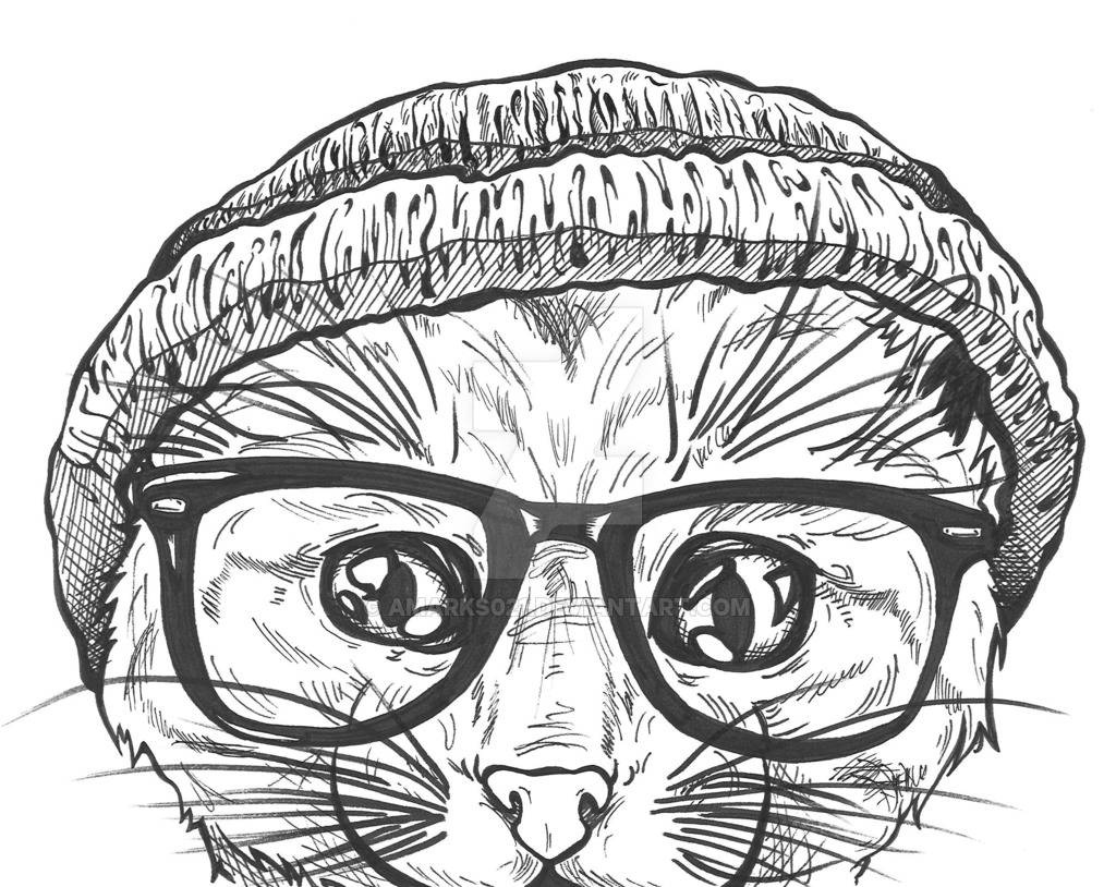 1024x814 Hipster Cat By Amarks021 On DeviantArt