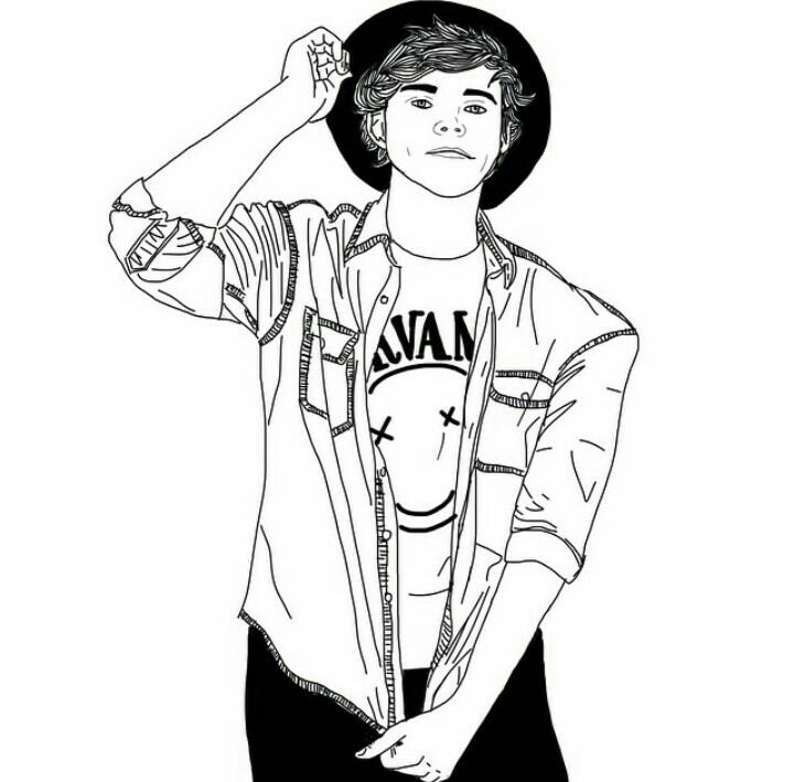720x709 Tumblr Boy Outline NOPE JUST ASHTON Draw Pinterest
