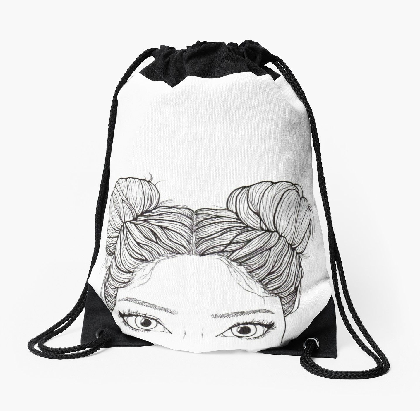 1435x1404 Bun Girl Tumblr Outline Drawstring Bags By Artsyfeebs Redbubble